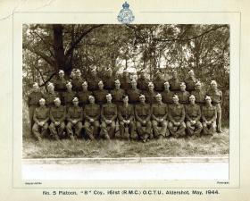 No 5 Platoon, B Coy, 161st (RMC) OCTU, Aldershot, May 1944.