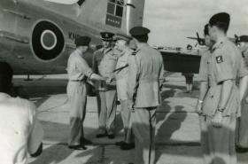 Field Marshal Montgomery is greeted on arrival at Mauripur ahead of 15th (Kings) Battalion inspection, India, 1946