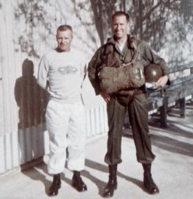 Sgt Brian Riordan on refresher parachute course at Fort Benning Georgia USA May 1963