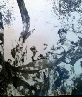 L/Cpl Fred Ogden in the shade, No 1 (Guards) Independent Company, Cyprus, 1956.