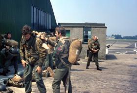 Members of 1 Para Provost Platoon RMP (V) preparing for parachute jump, RAF Northolt 1970s.