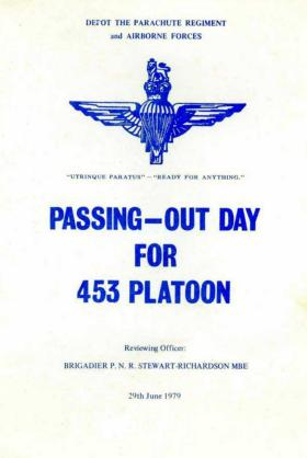 Programme for Passing Out Day for 453 Platoon, 29 June 1979.