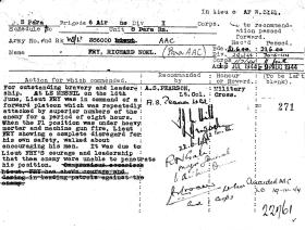 Military Cross citation for Lt RN Fry, Normandy 1944.