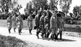 "The funeral of Pte Alexander ""Jock"" McBride, Ramleh War Cemetery, May 1946."