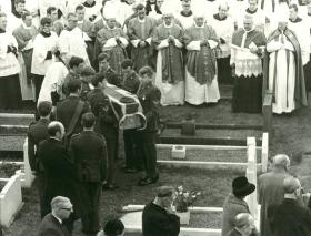 Funeral for Padre Weston, killed at Aldershot by an IRA bomb,  Liverpool 1972.