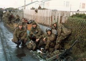 Members of 3 PARA, Ross Road, Stanley on the morning of 14 June 1982.