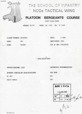 Steve 'Yank' Thayer's NCOs Platoon Sergeants Course certificate, 1987