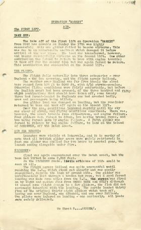 Glider Pilot Regiment report on Operation Market air and military by commander glider pilots