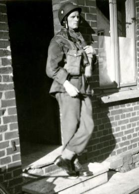 L/Cpl Zdzislaw Galasiak, with helmet and webbing, date unknown.