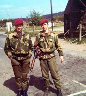 Pte Gary Parkins (right) at the Omeath Vehicle Checkpoint, South Armagh, 1974.