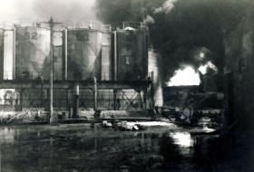 Aftermath of a terrorist attack on Oil Storeage facility, Haifa, Palestine