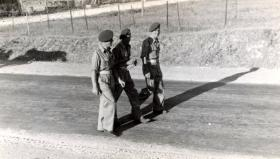 Three soldiers from the 211 Airlanding Light Battery RA, Gedera, Palestine, 18 April 1946.