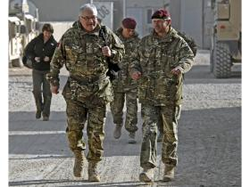 General Wall chats with Brigadier James Chiswell, Afghanistan, December 2010