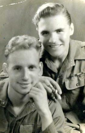 Ptes George Davies and Jim Dossetter, 8 Pln, C Coy, 7th Para Bn c1946.