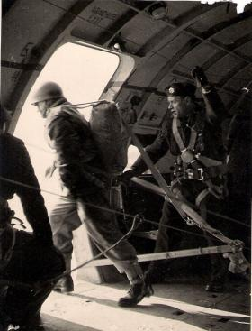 George Mair exits for his qualification jump, 1951