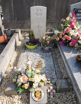 Grave of Sgt George Sanford, On Communal Cemetery, Marche-en-Famenne, Belgium.