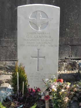 Grave of Sgt George Sanford, the On Communal Cemetery, Marche-en-Famenne, Belgium.