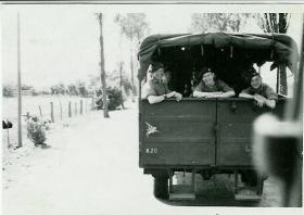 Members of 5th Para Bn look out from a truck, Germany 1948
