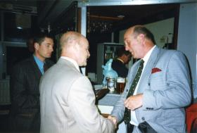 RSM 'Jack' Lemmon making a presentation to Albert Owens, Palace Barracks Northern Ireland, March 1999.
