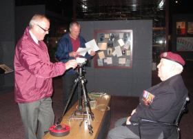 Gil Boyd and Bob Hilton interview Johnny Peters at the Airborne Assault Museum, 2011.