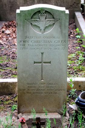 Headstone of Cpl John C Giles, Durham Road  Cemetery, Stockton on Tees, 2013.