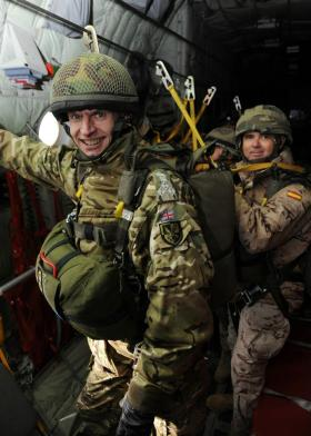 Brig Giles Hill preparing to parachute, Ex Iberian Eagle, Spain, December 2012.