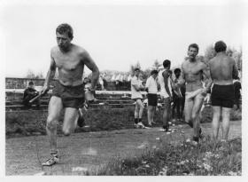 Hammerton and Brocklesby, 16 Ind Coy, winning the relay, Inter-Coy sports day against 15 PARA, Vogelsang, 1975.