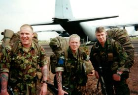 Support Coy's NCOs landing at Lungi Airfield as part of 1 PARA Battle Group, Sierra Leone, May 2000.
