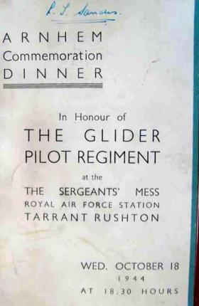 Arnhem Commemoration Dinner menu, GPR Sgt's Mess, 18 October 1944