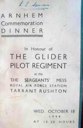 Arnhem Commemoration Dinner menu, GPR Sgt's Mess, 18 October 1944
