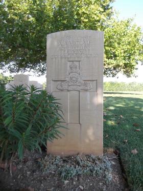 Headstone for Gnr AA Metcalfe, Bari War Cemetery, November 2011.