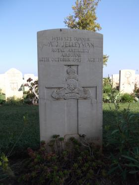Headstone for Gunner Jelleyman, Bari War Cemetery, November 2011.