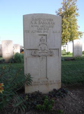 Headstone of Gunner Barkham, Bari War Cemetery, November 2011.