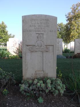 Headstone of Gunner CJL Miles, Bari War Cemetery, November 2011.