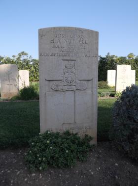 Headstone of Gunner Harry Nuttell, Bari War Cemetery, November 2011.