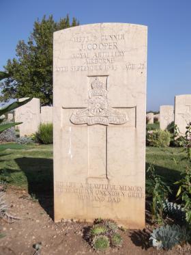 Headstone of Gunner James Cooper, Bari War Cemetery, November 2011.