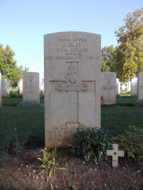 Headstone for Gunner John Riley, Bari War Cemetery, November 2011.