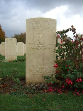 Headstone of Gunner R T Dennison, Bayeux War Cemetery, Oct 2013.