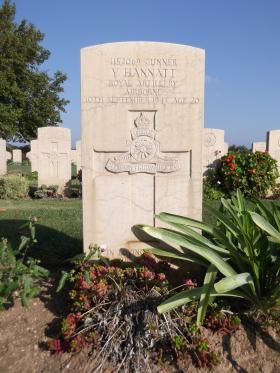 Headstone of Gunner Vinstead Hannatt, Bari War Cemetery, November 2011.
