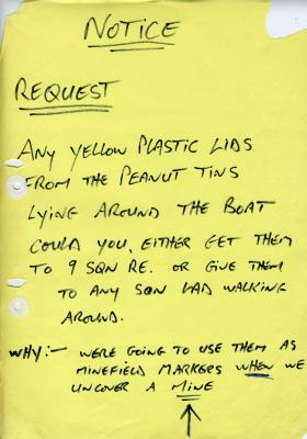 Notice appealing for yellow plastic lids to be used as minefield markers by 9 PARA Sqn, MV Norland, 1982