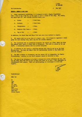 Notice to hold a sports competition, MV Norland, 1982