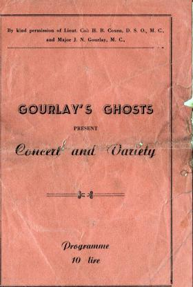 Programme for show put on by Gourlay's Ghosts, Italy 1943.