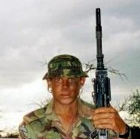 Pte Thwaites, GPMG gunner in Kenya 2003.