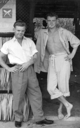 Left Graham Cox in Singapore, Christmas 1956.