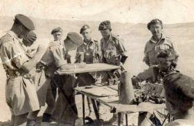 Members of 53rd Airlanding Light Regiment in Palestine, probably Fox Troop Command Post.