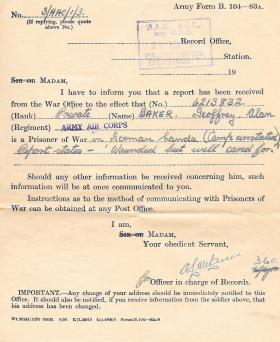POW notification for Pte G Baker, 28 November 1944.