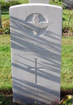 Headstone of  Lt Gordon Hill Oosterbeek War Cemetery, Arnhem, 2009.