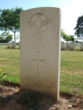 Gravestone of Pte AF Leversuch, Banneville-La-Campagne, 2010