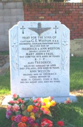 Headstone of Padre Gerry Weston, Liverpool, undated.
