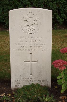 Sgt M A Gwinn's gravestone, Oosterbeek War Cemetery, Arnhem. 2009.